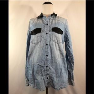 Express Leather Detailed Chambray Button Up